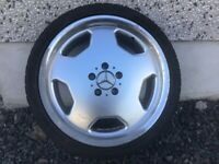SINGLE 18INCH MERCEDES MONOBLOCK ALLOY WHEEL WITH TYRE POLISHED WHEEL