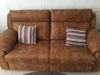 Leather brown electric recliner sofa and arm chair excellent condtion a few months old with receipt