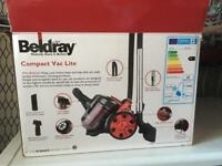 Beldray compact lite 1000watt hoover. Compact and light only 3kg. 2 litre bagless dust container.