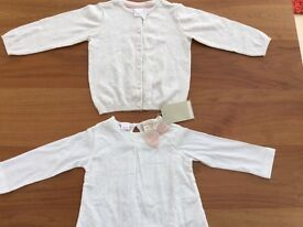 Baby girls top and cardigan. 9-12 months. Brand new