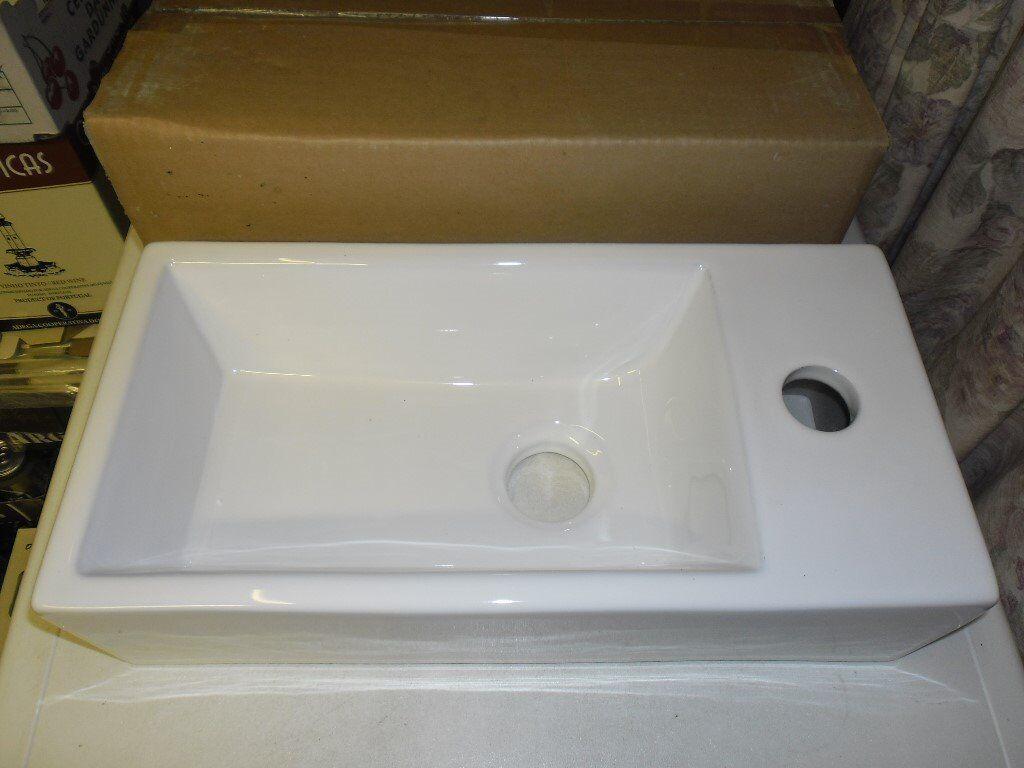 Washroom hand basin. W40cm D20cm H10cm