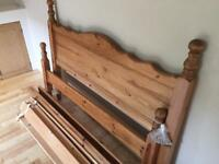 Solid Pine Double Bed Frame - waxed finish