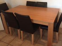 Beech Effect Dining Table and 6 Chairs