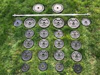 Domyos 80kg weights set including solid heavy Barbell