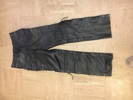 Mens Leather motocycle trousers