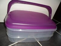 NEW Large Purple 2 Click Together Storage Container/s with Carry Handle