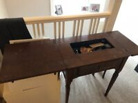 Original Singer electric sewing machine 201K2, built into table, collection only please