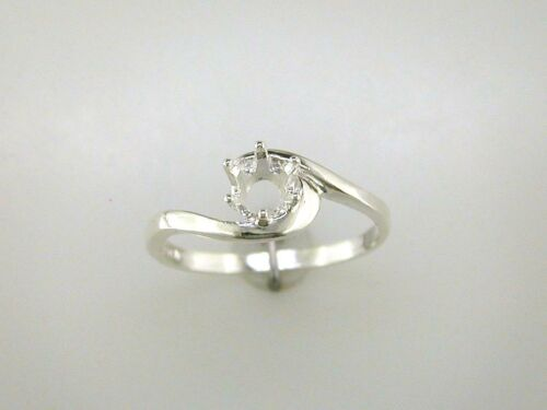 (4mm - 7mm) Round Crescent Solitaire Ring Setting Sterling Silver