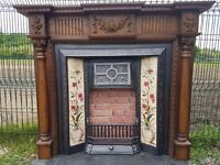 112 Cast Iron Fireplace Surround Fire Tiled Insert circa 1894 Victorian Original