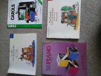 Beginners piano books plus christmas carols