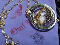 Rotating Hermione's Time-Turner Necklace Pendant. 18K gold plate