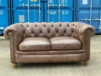 Beautiful Chesterfield Alexander & James Brown/ Grey Leather 2 Seater Sofa