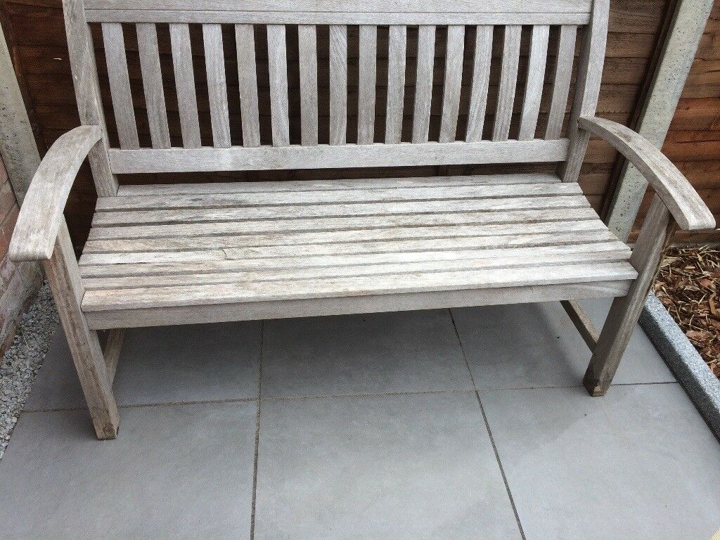 Wooden bench 53 inches long very comfortable good condition one broken slat see picture