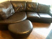 Chocolate brown leather corner sofa and foot stool. £180 ono