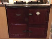 Rayburn gas fuelled in claret excellent condition