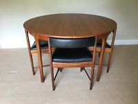 McIntosh Mid Century Circular Extending Dining Table with 4 Matching Chairs