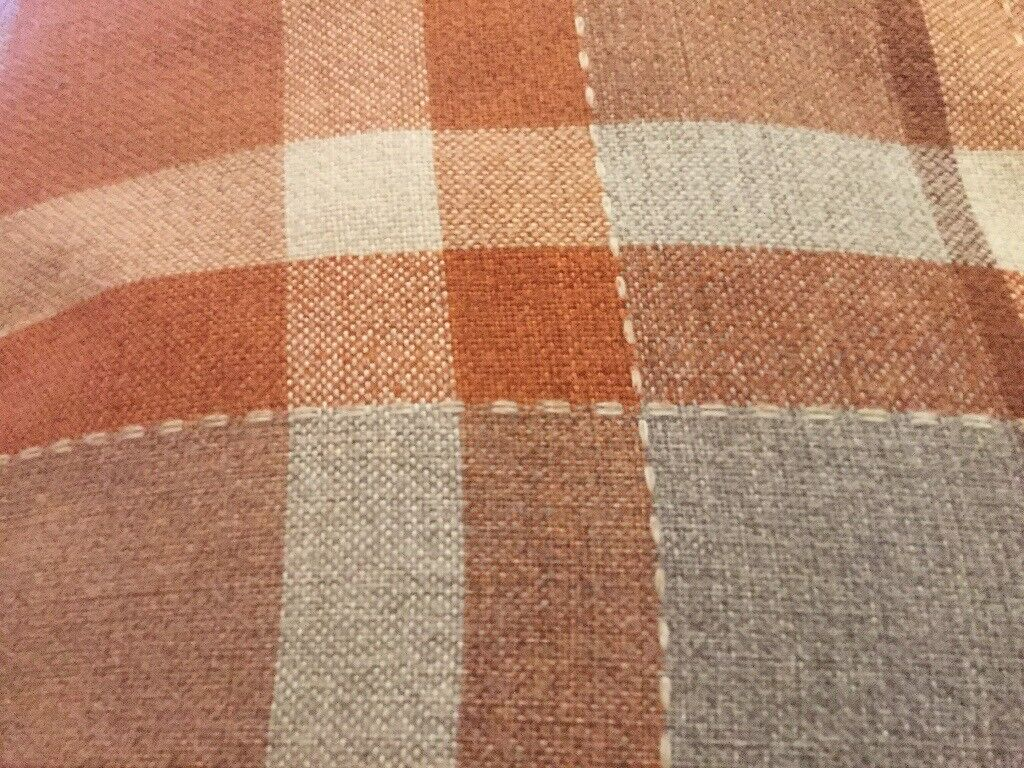 Burnt Orange Checked Eyelet Curtains 229 X 229 In