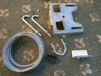TV MAST CHIMNEY LASHING KIT WITH ARIEL MAST CLAMPS GALVANISED - NOT COMPLETE