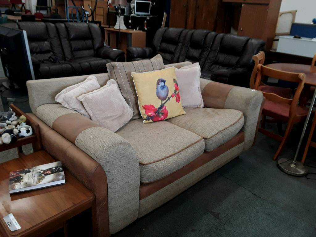 Beige Fabric and Leather 2 And 3 Seater Sofas.