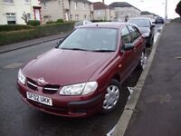 Nissan Almera. 02 Plate. 1,500cc Excellent condition.7 m.MOT £450. Ill health forces me to sell.