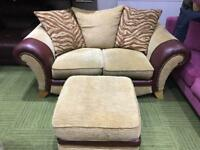 Oxblood leather and cream fabric 2 seater sofa and pouffe
