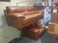 3 and 1 seater Sofa in a tan leather