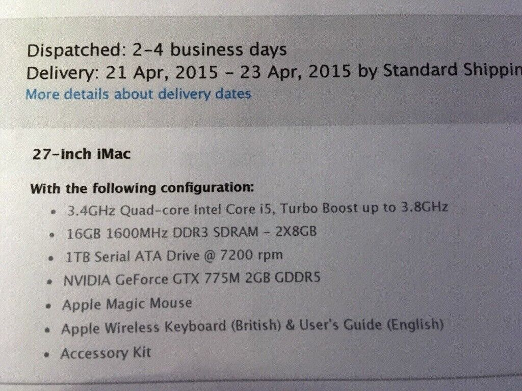 iMac 27 Slim 2013 A1419 3 4GHz 2GB Graphic 32GB Ram FinalCut PhotoShop  InDesign MS 2016 3 Months Wty | in London | Gumtree