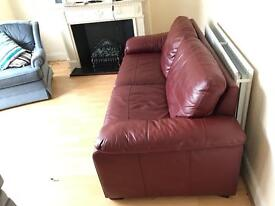 3 seater red leather sofa from Tesco
