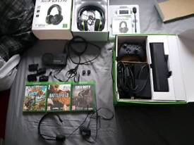 Xbox one connect with alot of accessories (capture card, headest, games, charging pack)