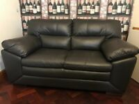 2 x 2 seater black leather sofas BRAND NEW