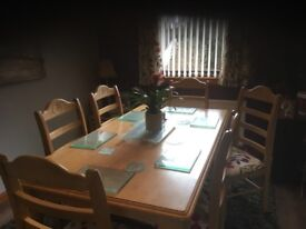 Solid country pine table and 6 chairs