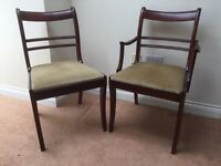 Set of six dining chairs, mahogany stained with dralon seats.