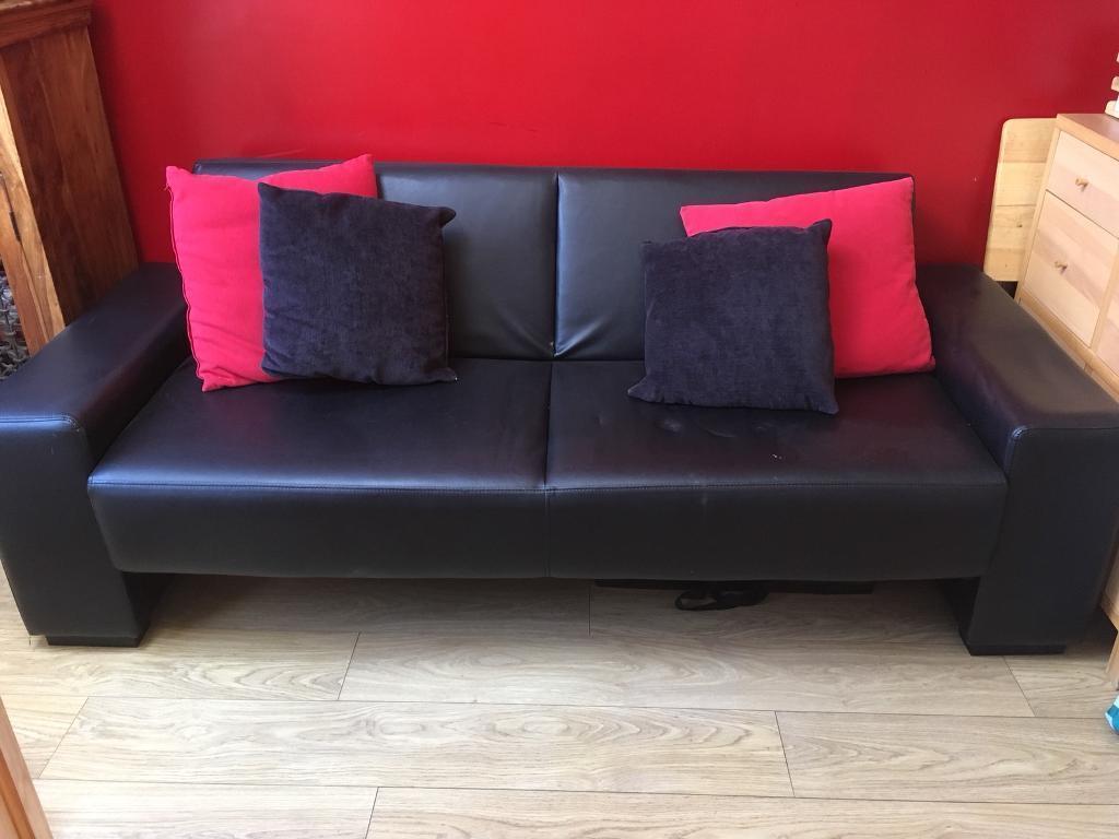 Black Leather Look Clic Clack Sofa Bed