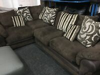 New/Ex Display Brown Dfs Cord Half Leather Group Sofa