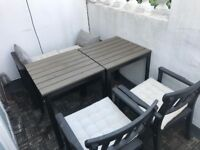 IKEA garden furniture set table/storage bench/chairs/cushions