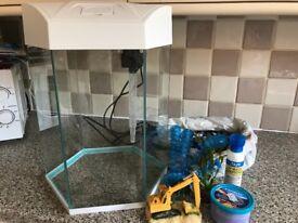 Fish r fun hexagonal tank full set up