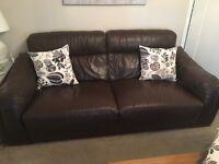 Quality used Sofaitalia leather sofa 3/4 seater