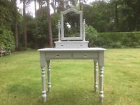 Hand painted solid pine dressing table & trinket box mirror in grey