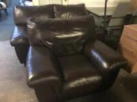 Quality dark brown leather 3 2 1 Sofas Set