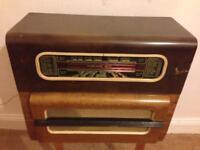 Vintage valve gramophone radio.