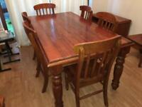 Canadian Redwood dining table, 8 chairs and matching unit