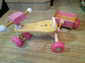 Toddler's Wooden Trike and Trailer