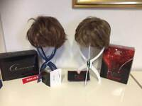 Brand new wigs with tags stands & box