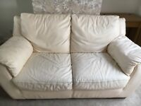 Natuzzi 2 Seater Cream Real Leather Sofa