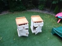 Pair of painted solid pine bedside tables