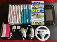 Wii U 32GB + 6 Wii U games including Zelda Breath of the Wild, Mario Kart 8 and 10 Wii games