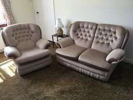 Two seater settee and chair