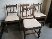 SET OF FOUR ERCOL DARK OAK DINING CHAIRS WITH REMOVEABLE SEAT PADS FREE DELIVERY