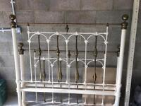 Ivory and brass king size bed frame.