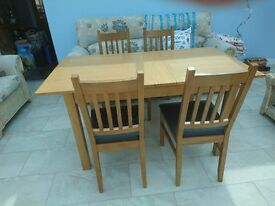 Hygena Cucina Oak Dining Table & Four Chairs